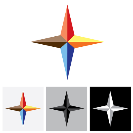 4 star: Colorful plus vector logo icon ( positive sign ) of triangles. The graphic illustration represents a symbol positivity with vivid and vibrant red, blue, orange colors