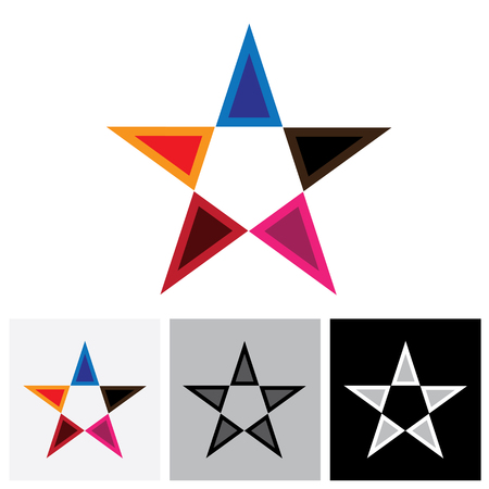 triad: Colorful star vector logo icon or sign with reflection. This is created using bright, vivid & vibrant colors like red, blue, orange, pink, etc
