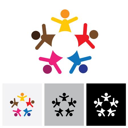 diversidad: Cinco personas felices coloridos iconos vectoriales logo abstractos como el anillo. Esto también puede representar una idea de los niños que juegan juntos o formación de equipos o actividad de grupo, la unidad y la diversidad Vectores