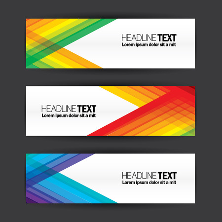 multi media: colorful business banners flat design template vector set. abstract multi color, modern and abstract banner design vector template set with diagonal lines for advertising, media campaigns, etc Illustration