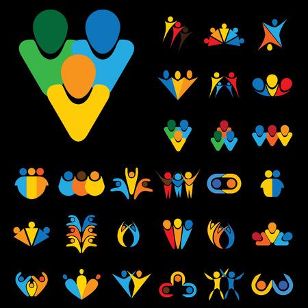 vector diseña el logotipo del icono de la gente, los niños, la amistad. esto representa conceptos como amigos juntos, tiempo de la diversión, la aptitud física y el ejercicio, yoga y aeróbicos, el equipo y el trabajo en equipo, las asociaciones Logos