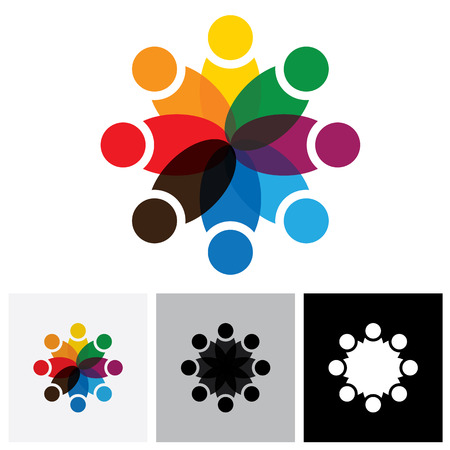team & teamwork, excited employees, motivated people - vector icon. this icon also represents friendship, partnership cooperation, unity, excitement, happiness, euphoric, happy, joyful, jubilant