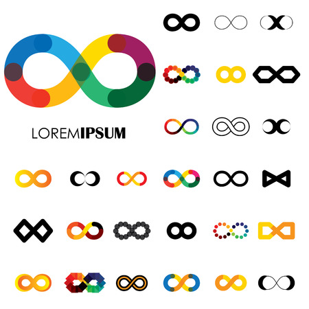 collection of infinity symbols - vector icons. this set of signs  can also represent concept of continuum, boundless and limitless, illusion of perpetuity, being unlimited Ilustração