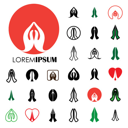 namaste: collection of indian womans hand greeting posture of namaste - vector icons. this can also represent meditation practice, offering prayers to god, respect to others, welcoming guests, yoga mudra