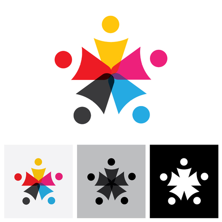 frenzy: team and teamwork of group of employees in star shape - vector icon. This graphic also represents concepts like employees connected, family love, community people together, unity & solidarity