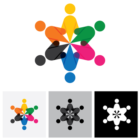 engagement: vector icon of people together - sign of unity, partnership. This also represents diversity, community, engagement, interaction, teamwork, team, children, kids, employees