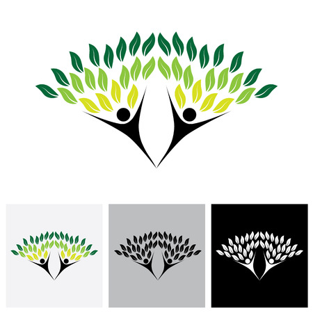 duo: happy, joyous people as trees of life - eco concept vector
