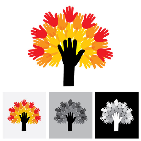 raise hand: human hand & tree icon with colorful palms - concept vector icon. This graphic also represents empathy, human connections, people community, unity and togetherness, united people, care and help