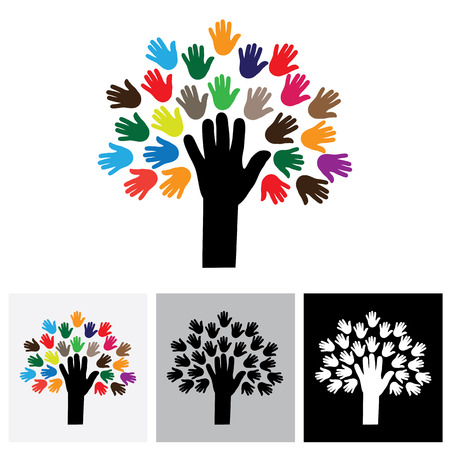 empathy: human hand & tree icon with colorful palms - concept vector icon. This graphic also represents empathy, human connections, people community, unity and togetherness, united people, care and help