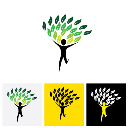 lively: joyous lively person as tree - concept vector icon. This graphic also represents joy and merry, enthusiasm and fun, lively spirited person Illustration