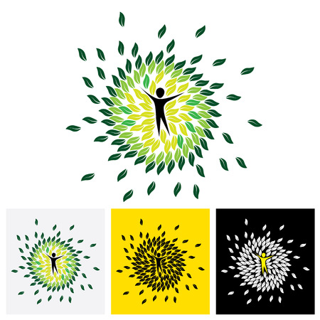 harmony nature: people & nature balance circle - eco lifestyle concept vector icon. This graphic also represents harmony, nature conservation, sustainable development, natural balance, development, healthy growth