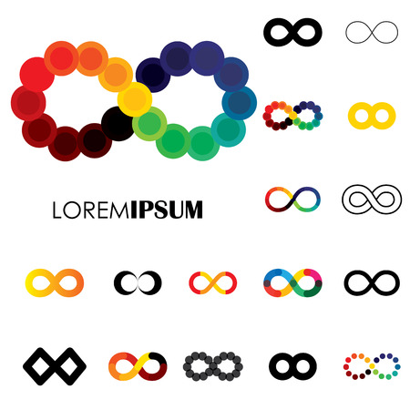 continuum: collection of infinity symbols - vector icons. this set of signs  can also represent concept of continuum, boundless and limitless, illusion of perpetuity, being unlimited Illustration