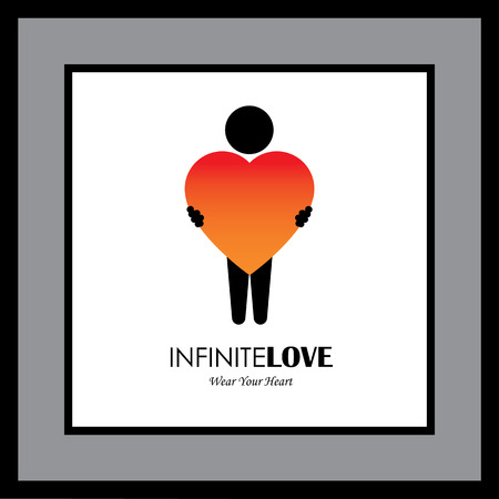 icon for person with big heart, kindness, empathy - concept vector. This graphic also represents individuality, positive character, emotions & feelings, human soul & spirit, self love, compassion Vetores