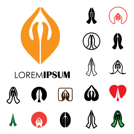 collection of indian womans hand greeting posture of namaste - vector icons. this can also represent meditation practice, offering prayers to god, respect to others, welcoming guests, yoga mudra