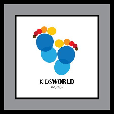 pie bebe: par de colores de fondo de la huella de la gente - icono del vector. Esto también puede ser representativa de días de la infancia del niño (o el bebé), o la marca de los pies o de la persona artística (o creativo)