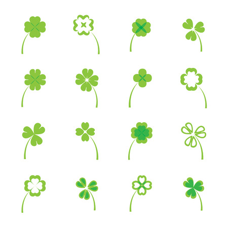 three leaf clover: Clover leaves vector set or collection on white background. four and three leaf lucky clover leaf in flat style.