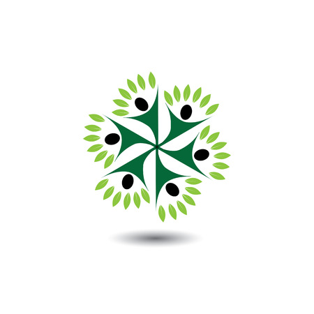 healthy growth: people & nature balance circle - eco lifestyle concept vector icon. This graphic also represents harmony, nature conservation, sustainable development, natural balance, development, healthy growth