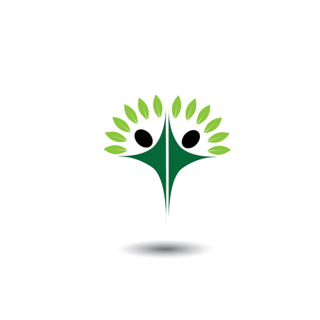 joy of life: happy, joyous people as trees of life - eco concept vector. This graphic icons also represents harmony, joy, happiness, friendship, education, peace, development, healthy growth, sustainability