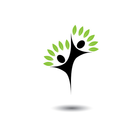 friends jumping in joy - life tree eco concept vector icon. This graphic also represents harmony, joy, happiness, friendship, education, peace, development, healthy growth, sustainability