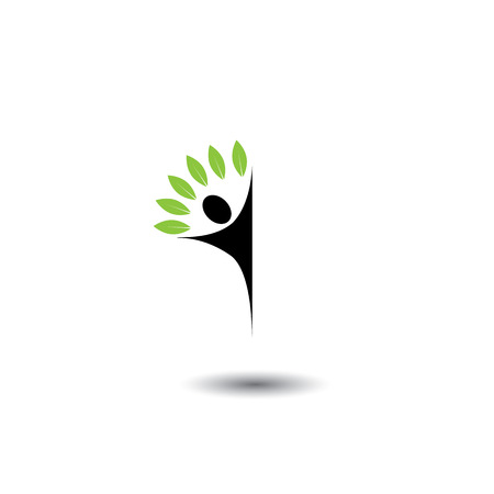 harmony nature: people tree - eco lifestyle concept vector icon. This also represents harmony, nature conservation, sustainable development, natural balance, development, healthy growth