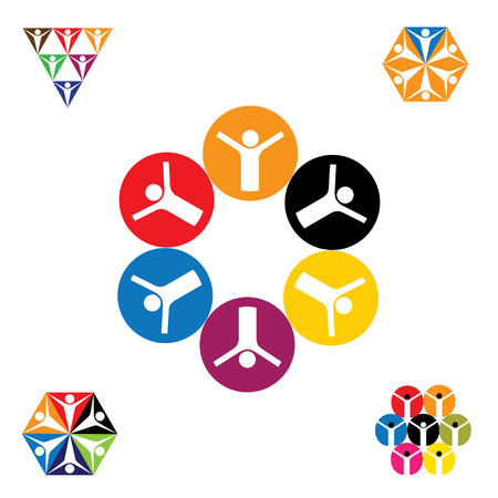 physical fitness: vector icon designs of people, children, friendship. this represents concepts like friends together, fun time, physical fitness & exercise, yoga & aerobics, team & teamwork, partnerships