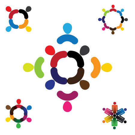 abstract people vector design collection set. this also represents unity,  teamwork, diversity, fun and play, signs and symbols