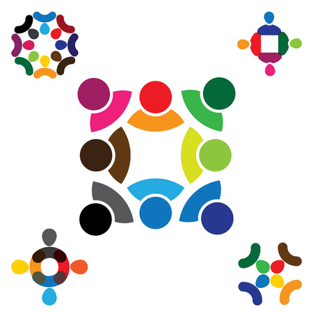 abstract people vector icon design collection set. this also represents teamwork, diversity, signs and symbols