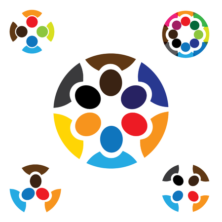 cooperating: set of colorful, abstract people together graphics - vector icons. This also represents concepts like employees connected, family love, community people, unity & solidarity, kids & children