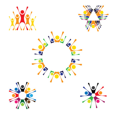 cooperating: vector icons of people together - sign of unity, partnership. this also represents community, engagement & interaction, teamwork & team, children playing, kids fun, employees & staff, office, etc