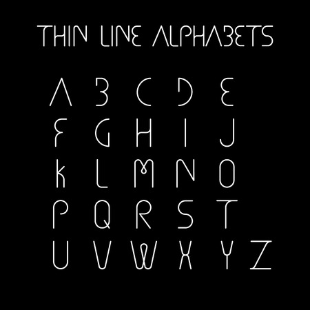 thin line and narrow English alphabets or letters in abstract and unique shapes and in uppercase - vector icons on black background Illustration