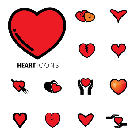 abstract love: abstract heart icons ( signs ) for love, happiness- vector graphic. This love icon represents concepts of passion, platonic love, break-up, healing & protection of hearts health, prevention