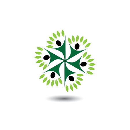people & nature balance circle - eco lifestyle concept vector icon. This graphic  represents harmony, nature conservation, sustainable development, natural balance, development, healthy growth