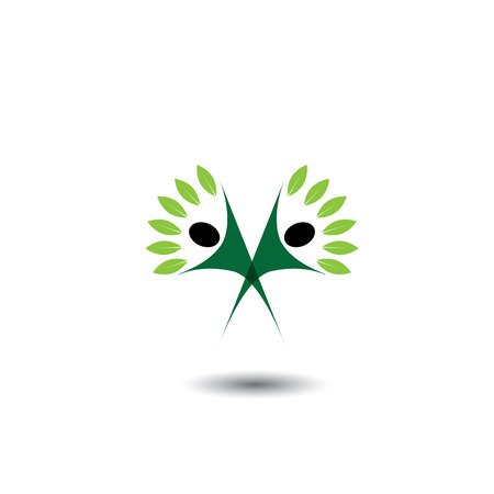 happy, joyous people as trees of life - eco concept vector. This graphic icons  represents harmony, joy, happiness, friendship, , peace, development, healthy growth, sustainability