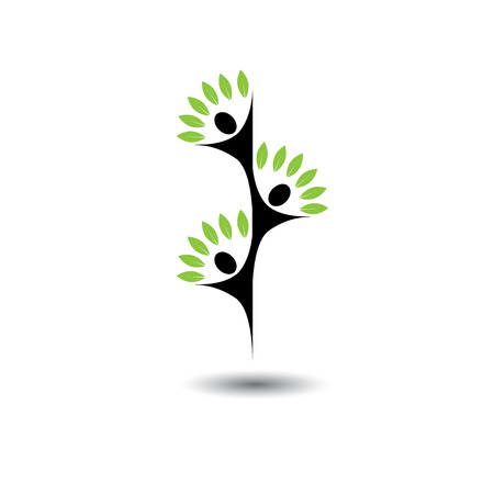 friends jumping in joy - life tree eco concept vector logo icon. This graphic also represents harmony, joy, happiness, friendship, sustainability