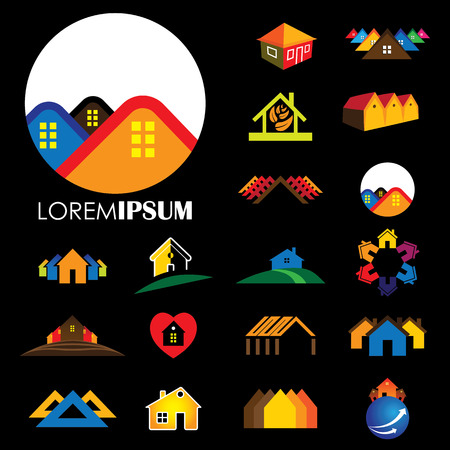 residential homes: set of line icons of buildings vector  represents homes, houses, apartments and residential buildings, rental property, real estate buy sell icons, etc