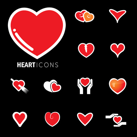 abstract heart icons ( signs ) for love, happiness- vector graphic. This love icon represents concepts of passion, platonic love, break-up, healing & protection of heart's health, prevention Reklamní fotografie - 69468592