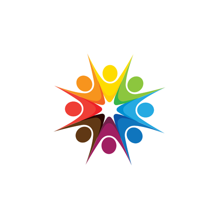 Abstract colorful five happy people  icons as ring. This can also represent concept of children playing together or team building or group activity, unity & diversity