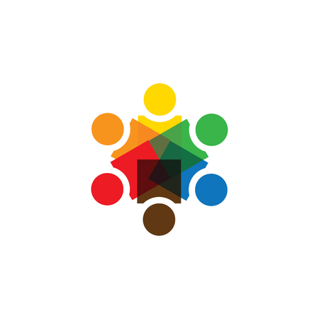vector icon of people together - sign of unity, partnership. Vettoriali