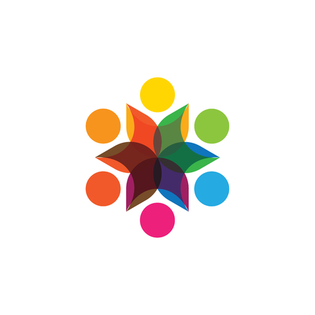 frenzy: Abstract colorful six happy people vector logo icons as ring.