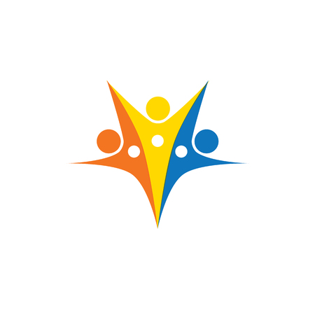 abstract colorful people group vector logo.