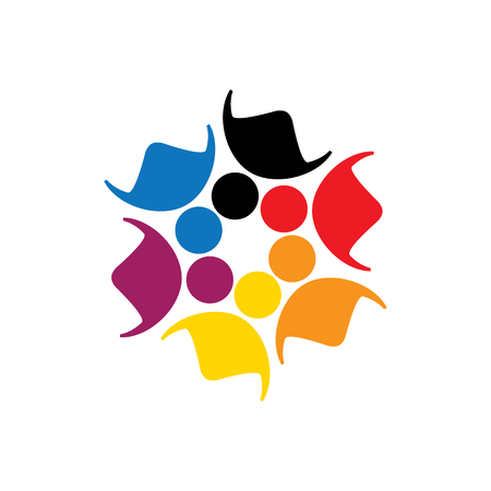 vector icon of people together - sign of unity, partnership. This also represents diversity, community, engagement, interaction, teamwork, team, children, kids, employees