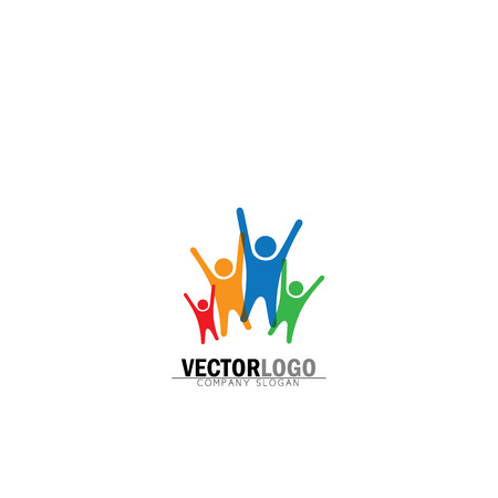 family vector logo icon in trendy flat style isolated on white background. parents symbol, father, mother, son and daughter signs