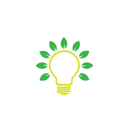 green bulb with leaves -  concept of green power or energy eps 10 vector logo on white background