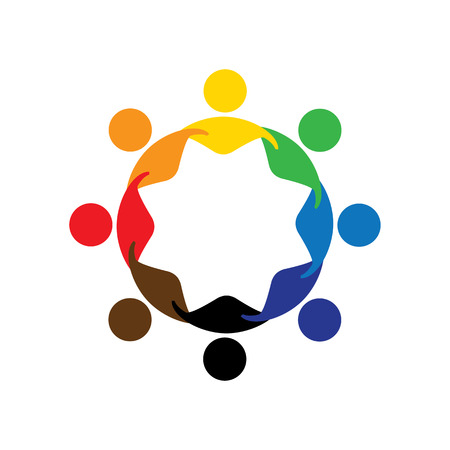 multiracial: Abstract colorful five happy people vector logo icons as ring. This can also represent concept of children playing together or team building or group activity, unity & diversity