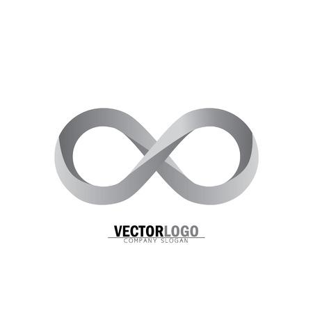 infinity or infinite symbol in grey - vector logo icon