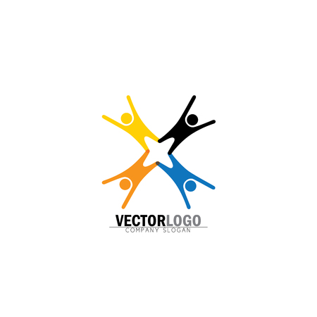 peppy: team & teamwork, excited employees, motivated people - vector icon. this icon also represents friendship, partnership cooperation, unity, excitement, happiness, euphoric, happy, joyful, jubilant