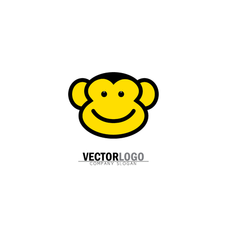 smiling happy monkey face vector logo icon. also represents modern flat pictogram, business, marketing, internet concept, trendy simple vector symbol for web site design or button to mobile app