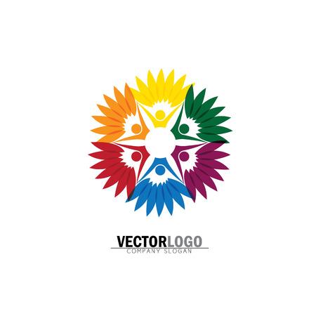 amistad, vinculación, juntos círculo de logotipo de personas orgánicas, logotipo de árbol, plantilla de logotipo vectorial. persona sana, árbol de personas, eco y bio icono, icono de personaje humano, símbolo de cuidado de la naturaleza. Logos