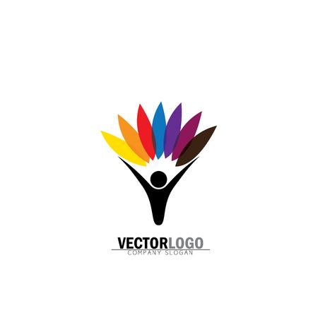 Les gens et la nature équilibre - eco lifestyle concept vector logo icon. Cela représente également l'harmonie, la conservation de la nature, le développement durable, l'équilibre naturel, le développement, une croissance saine