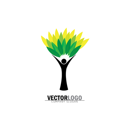 people tree icon with green leaves - eco concept vector logo. This also represents environmental protection, nature conservation, eco friendly, renewable, sustainability, nature loving Vettoriali